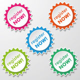 Register Now Star Paper Labels Stock Photo