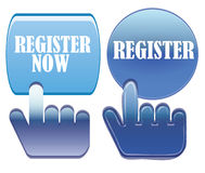 Register now. Web button on white background Royalty Free Stock Images