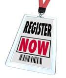 Register nu - de Registratie voor Handel toont Gebeurtenis Stock Foto's