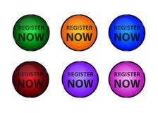 Register nu Lichte Knopen - Kleurrijke Vectorreeks Stock Fotografie