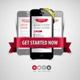 Register och inloggning från din smartphone Arkivbilder