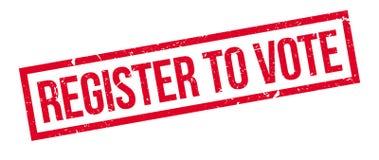 Register om over rubberzegel te stemmen Stock Foto