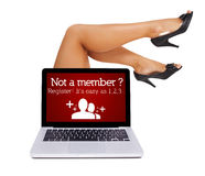 Register sign in laptop with sexy feet Royalty Free Stock Photo