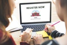 Register som E-lär nu utbildningsWebsitebegrepp arkivbilder