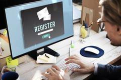 Register treffen eintragen sich anschließen Rekordverpflichtung eintragen Konzept zu stockfotos
