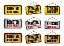 Register voor vrij teken Stock Foto