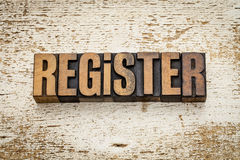 Register word in wood type Royalty Free Stock Photo