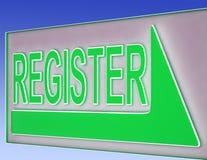 Register-Zeichen-Knopf zeigt Website-Ausrichtung lizenzfreie abbildung