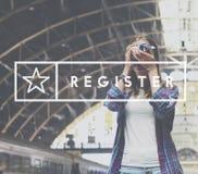 Registerapplikationen applicerar skriver in medlemskapbegrepp royaltyfria foton