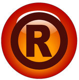 Registered icon or button. Red registered web button or icon - illustration Stock Image