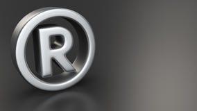 Registered mark on black. Metal registered sign on black background with copyspace Royalty Free Stock Images