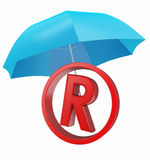 Registered mark with blue umbrella Stock Images