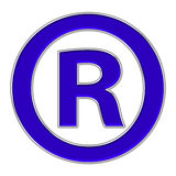 Registered mark icon. Registered trade mark icon with silver border Royalty Free Stock Photography