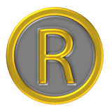 Registered mark icon. Registered trade mark icon with golden border Royalty Free Stock Image