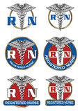 Registered Nurse Designs. Illustration of six different registered nurse medical symbol designs. Great for logos or t-shirts Royalty Free Stock Images