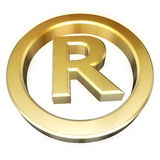 Registered sign. Gold registered sign. Perspective view Royalty Free Stock Photography
