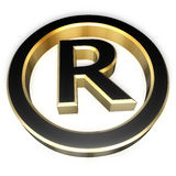 Registered sign. Gold and black registered sign. Perspective view Royalty Free Stock Images