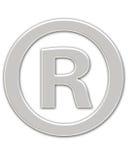 Registered Symbol. Metallic symbol registered Stock Photo