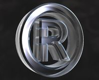 Registered symbol in glass. Registered symbol in transparent glass (3d Royalty Free Stock Photo