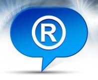 Registered symbol icon blue bubble background. Registered symbol icon isolated on blue bubble background royalty free stock image