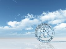 Registered trademark. Ice registered trademark symbol under cloudy blue sky - 3d illustration Royalty Free Stock Images