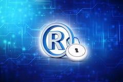 Registered Trademark concept with padlock, 3D rendering vector illustration