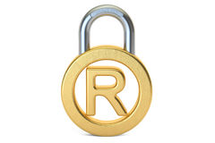 Registered Trademark concept with padlock, 3D rendering. Isolated on white background vector illustration
