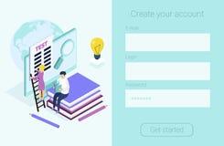 Registerform för språkkurser som e-lär, royaltyfri illustrationer