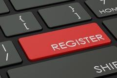 Registerknoop, roodgloeiende sleutel op toetsenbord het 3d teruggeven stock illustratie