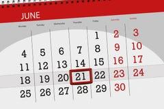 Registi il pianificatore per il mese, il giorno della settimana, giovedì, di termine il 21 giugno 2018 Immagini Stock