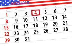 Registi il pianificatore per il mese, il giorno della settimana, mercoledì, 2018 il 4 luglio, festa dell'indipendenza di termine Immagini Stock Libere da Diritti