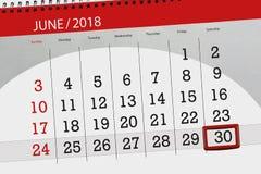 Registi il pianificatore per il mese, il giorno della settimana, sabato, di termine il 30 giugno 2018 Immagini Stock