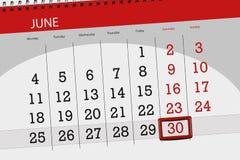 Registi il pianificatore per il mese, il giorno della settimana, sabato, di termine il 30 giugno 2018 Immagini Stock Libere da Diritti