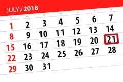 Registi il pianificatore per il mese, il giorno della settimana, sabato, di termine il 21 luglio 2018 Fotografie Stock Libere da Diritti