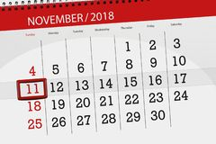 Registi il pianificatore per il mese, il giorno di termine della settimana 2018 novembre, 11, domenica fotografia stock