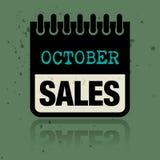 Registi l'etichetta con le vendite di ottobre di parole scritte dentro Illustrazione di Stock