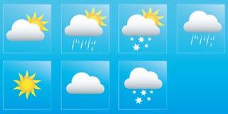 Registi le previsioni del tempo per la settimana, le icone ed i distintivi Fotografia Stock Libera da Diritti