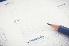 Registi per programma appuntamenti di lavoro dell'ordine del giorno Fotografie Stock