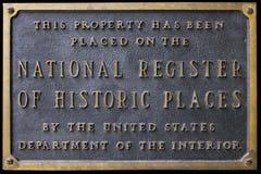 Registo nacional do sinal ou da chapa histórica dos lugares Imagem de Stock Royalty Free