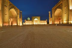 Samarkand, Uzbekistan, Silk Route. Registon main square at night in Samarkand, Uzbekistan, scene, silk, route, registan, heritage, tourism, art, samarqand royalty free stock photography