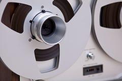 Registrador abierto de la cubierta de cinta del carrete de la estereofonia analogica Fotografía de archivo