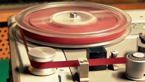 Registrador de cassete áudio do carretel do vintage, fita da rebobinação video estoque