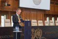 The registrar of the ICJ giving a speech