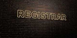 REGISTRAR -Realistic Neon Sign on Brick Wall background - 3D rendered royalty free stock image. Can be used for online banner ads and direct mailers Royalty Free Stock Photography