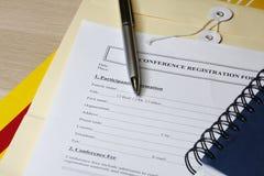 Registratie voor een conferentie stock foto