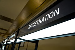Registration Booth Sign royalty free stock images