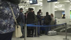 Registration for the flight and baggage at the International Novosibirsk Tolmachevo Airport stock footage video stock video