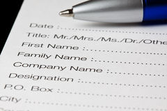 Registration form. English registration form, quality check Royalty Free Stock Photography