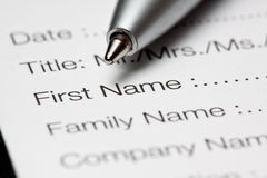 Registration form Stock Images
