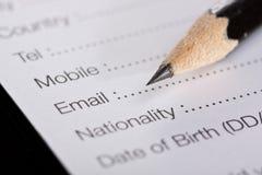Registration form Royalty Free Stock Image